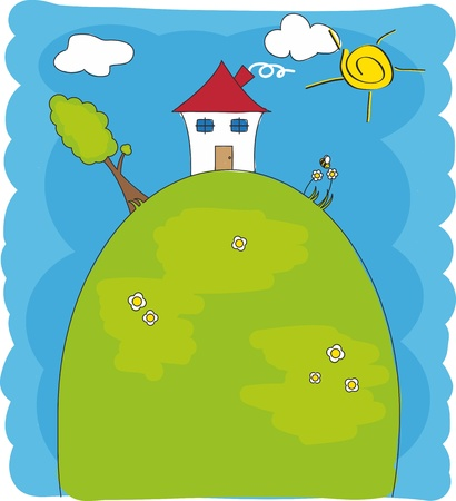 Children drawing. House on of a mountain Vector
