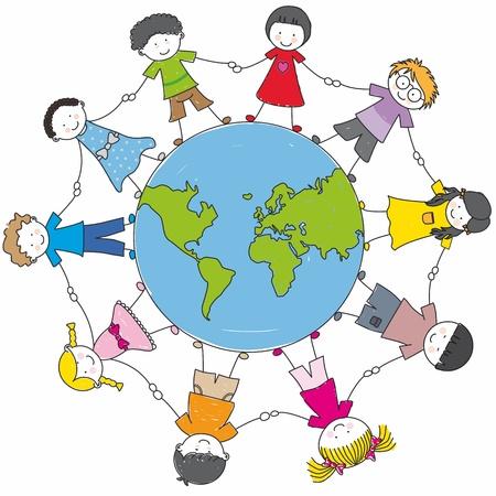 girotondo bambini: bambini di tutto il mondo unito Vettoriali