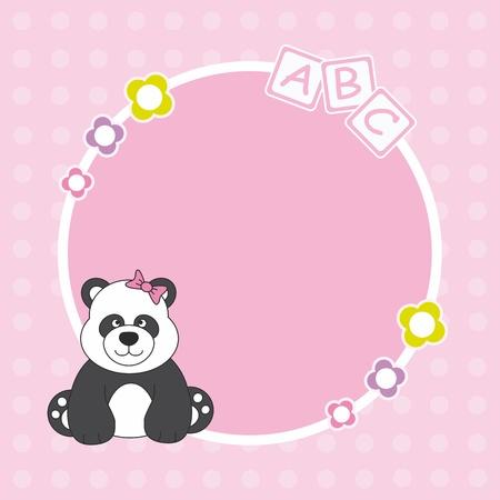 Baby girl arrival announcement. Panda bear framework Vector