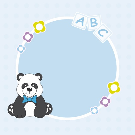 Baby boy arrival announcement. Panda bear framework Vector