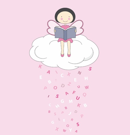 Fairy on a cloud reading Vector
