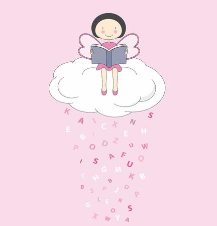 angeles bebe: Hada en una nube de lectura