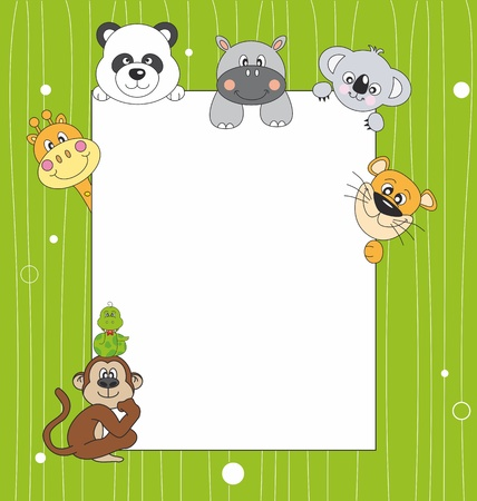 Animal cartoon and blank sign  Ilustrace