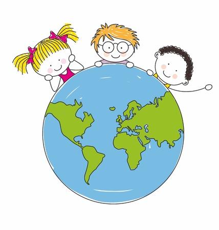 planeta tierra feliz: ni�os de todo el mundo unido Vectores