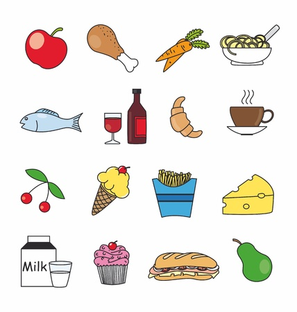 food and drink icons in color  Vector