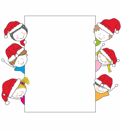 children dressed as Santa Claus.. kids and frame