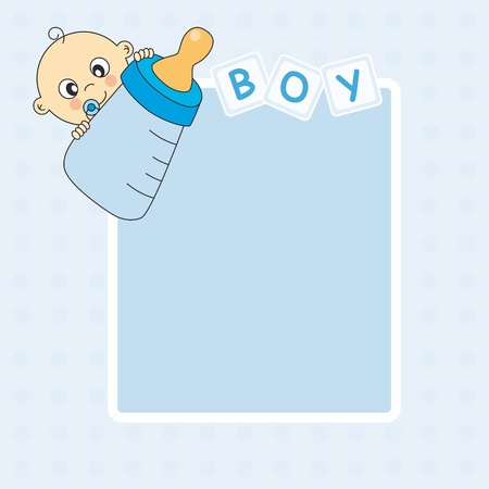 Baby boy arrival announcement card. Picture frame or text  Vector