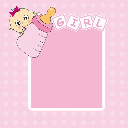 Baby girl arrival announcement card. Picture frame or text  Vector