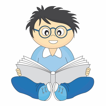 test glass: happy child reading. Drawing isolated white background  Illustration