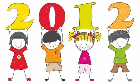 children with the numbers of the new year  Vector