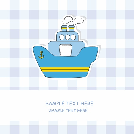 Baby boy arrival announcement card. Steamboat  Vector