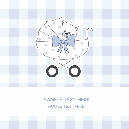 welcome baby: Baby boy arrival announcement card. Baby carriage with a teddy bear