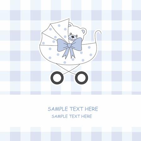 Niño llegada anuncio tarjeta. Cochecitos de niños con un oso de peluche Ilustración de vector