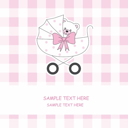 Baby girl arrival announcement card. Baby carriage with a teddy bear Vector