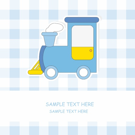 Baby boy arrival announcement card. Train Stock Vector - 11162476