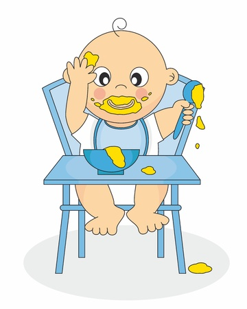 Illustration eines Baby essen Baby Food