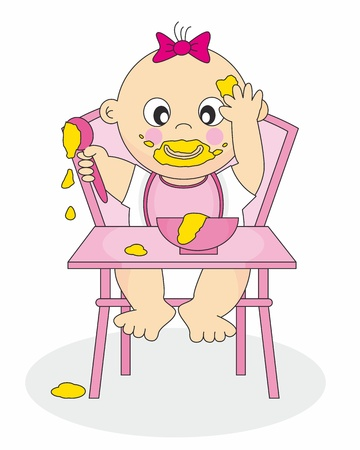 Illustration of a Baby Eating Baby Food Vector