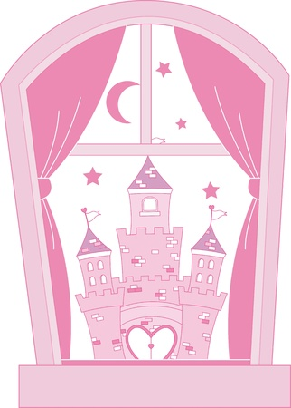 Pink princess castle Stock Vector - 11162204