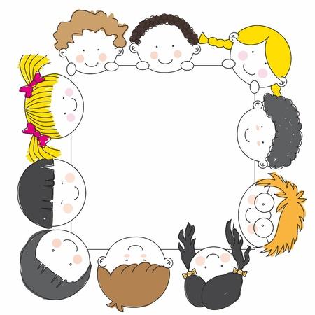 school baby: Cute cartoon kids frame