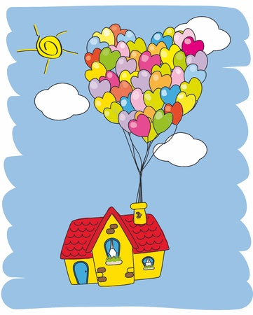 fly cartoon: House flying with balloons