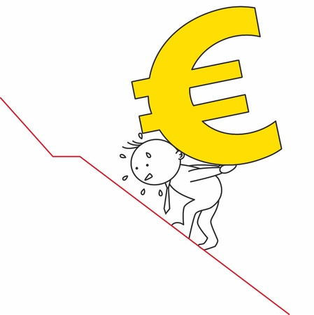 economist: Man carrying a euro. Representation of the European crisis Illustration