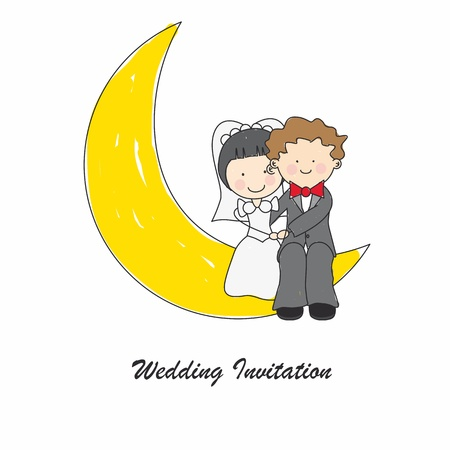 man in the moon: Wedding invitation card