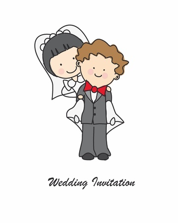 cartoon wedding couple: wedding invitation Illustration