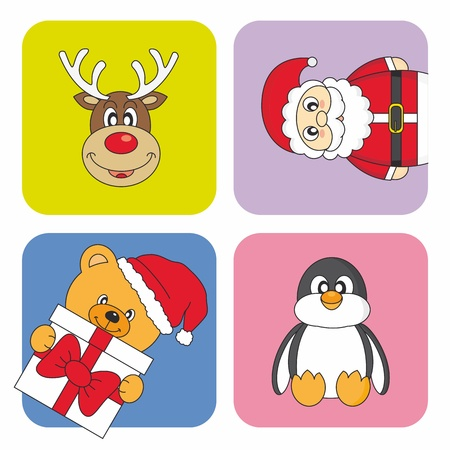 Funny Christmas card. Santa Claus, reindeer, penguin and bear Vector