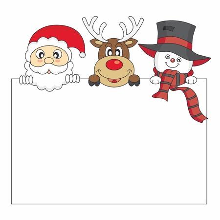 weihnachtsmann lustig: Lustige Weihnachtskarte. Weihnachtsmann, Rentier und Schneemann hält ein Plakat. Platz für Foto oder Text