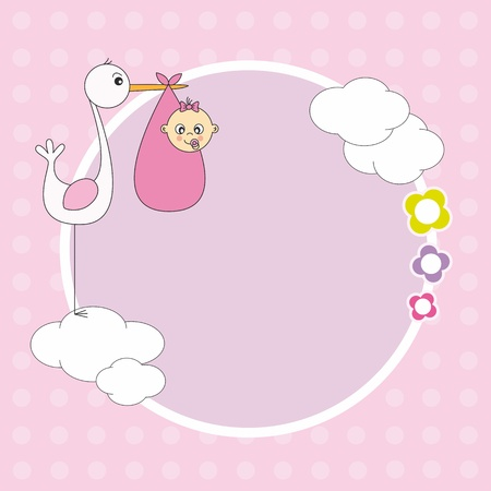 baby shower girl: Baby girl arrival announcement. Stork with a baby