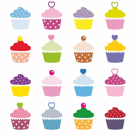 A selection of delicious cupcakes  Vector