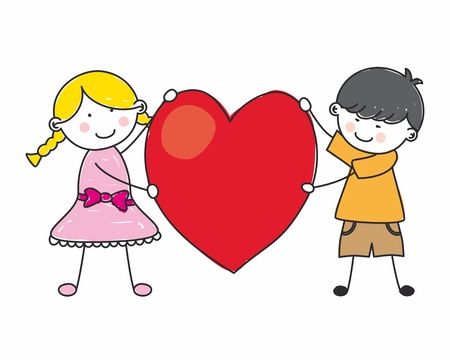 sweet love: Children holding a heart  Illustration