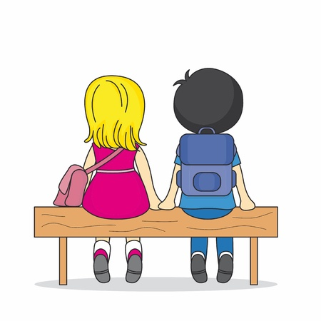 Illustration of two children sitting on a bench. lovers