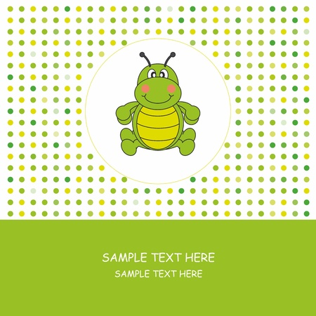 Greeting Card. Worm  Vector