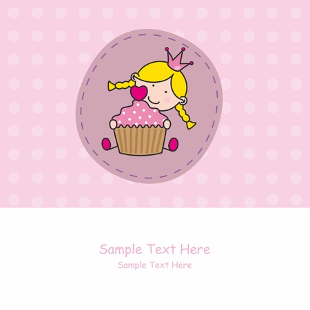 baby cupcake: Greeting card. girl with a cake