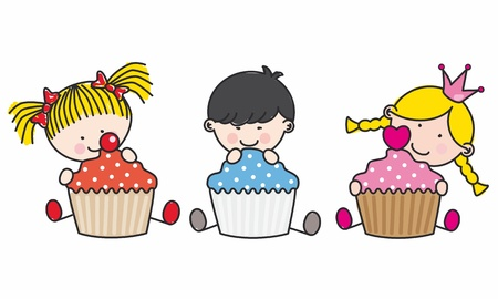 children with a cake Vector