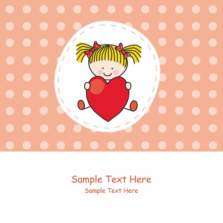 Greeting card. girl with a heart Stock Vector - 11621187