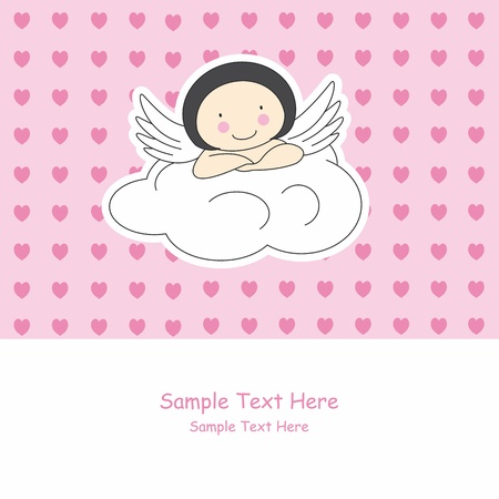 baby angel: Angel wings on a cloud. Greeting card