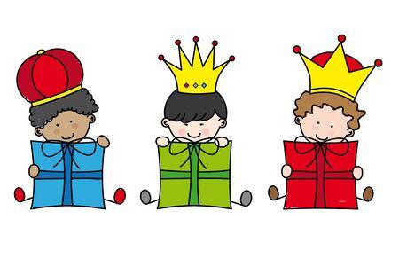 sistema operativo: Navidad. Reyes Magos Vectores