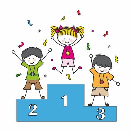 podium: Children playing sports. Medal on the podium