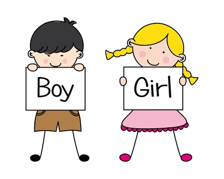 baby on board: Boy and girl  Illustration