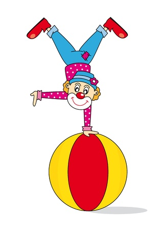 circus stage: Funny clown. Vector art-illustration on a white background.
