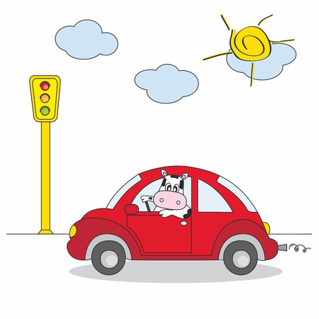 transportation cartoon: cow driving a red car