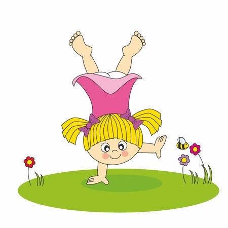 florecitas: niña jugando en el jardín