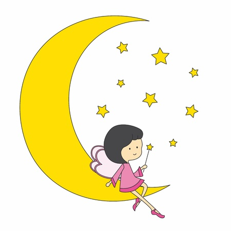 fee zauberstab: Fee auf dem Mond sitzt Illustration
