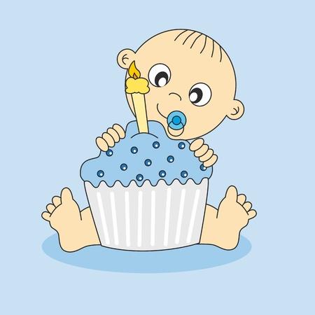 first birthday: Baby boy card with a birthday cake. first Birthday