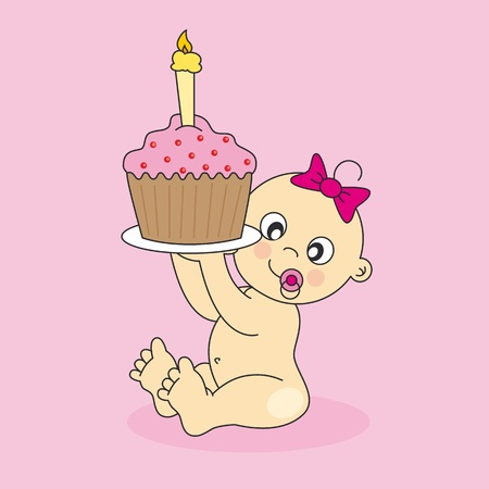 first love: Baby girl card with a birthday cake. first Birthday