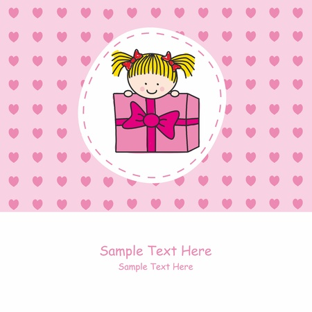 Greeting card pink. Girl out of a gift package Vector