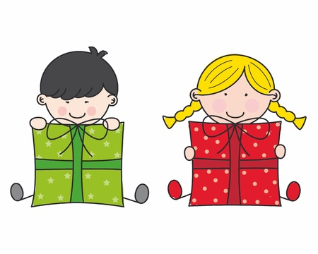 little boy and girl: Children with gifts