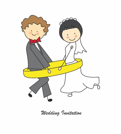 cartoon wedding couple: wedding invitation. Just married in an engagement ring Illustration